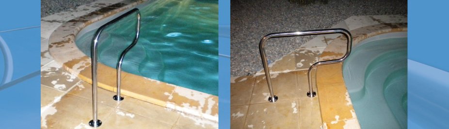 Cr ativ 39 inox contour et chelle de piscine main courante protection i - Protection piscine amovible ...